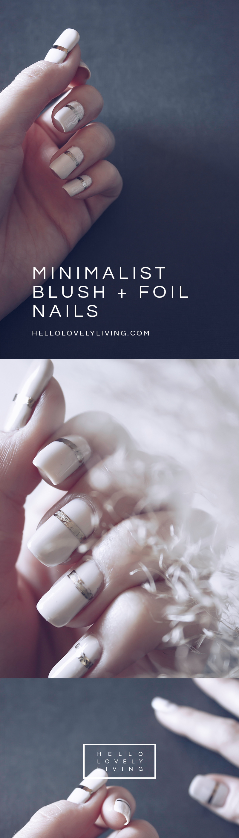 HelloLovelyLiving.com | DIY Minimalist Blush Pink + Foil Nails | Essie Between The Seats Nail Polish