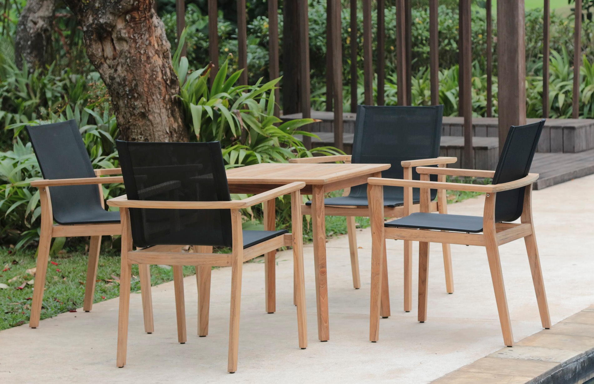 MAYA DINING CHAIR (Sling) AND DINING TABLE SQUARE