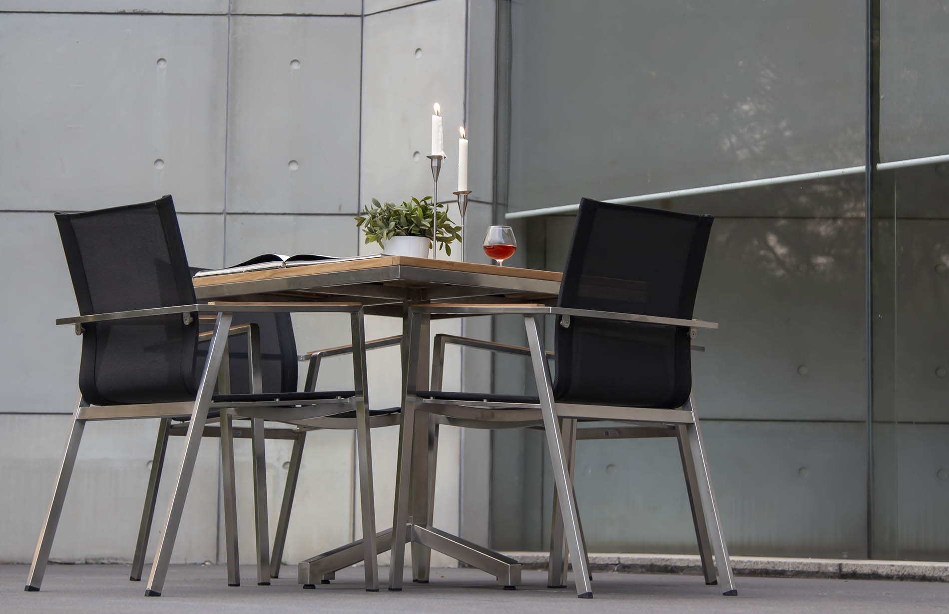 FRANK DINING CHAIR (Sling) AND FRANK PEDESTEL TABLE