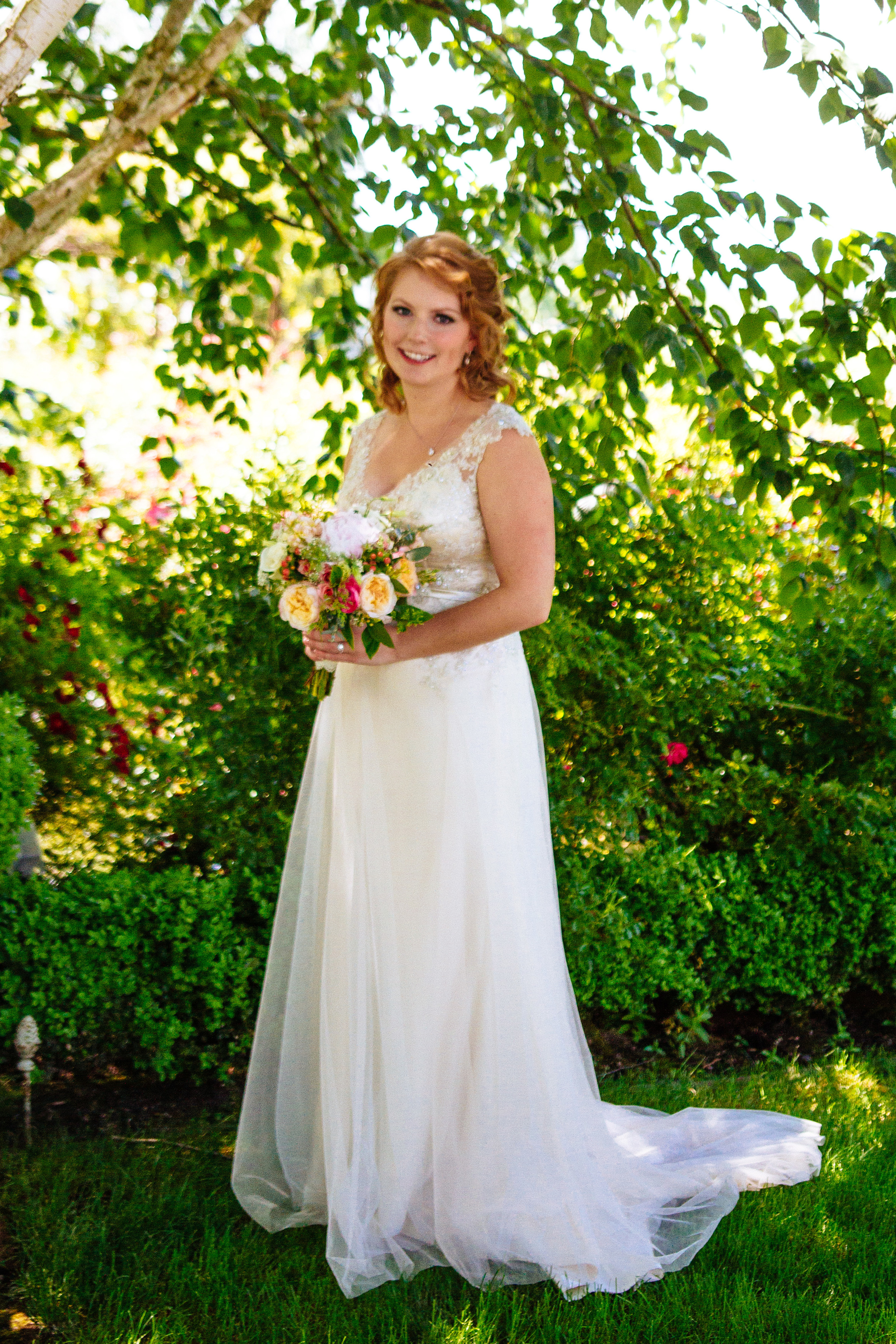 Wedding Photography. Bride portrait with beautiful trees in the background