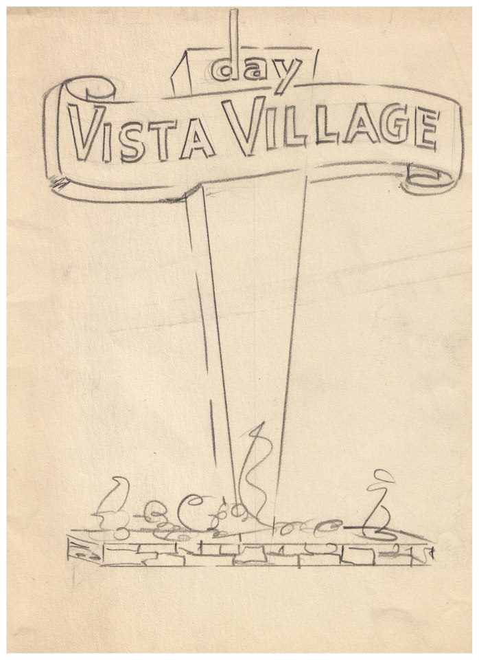 An early Vista Village sign concept. Image Courtesy Boise City Dept. of Arts and History, The Ashley Sign Co. Collection.