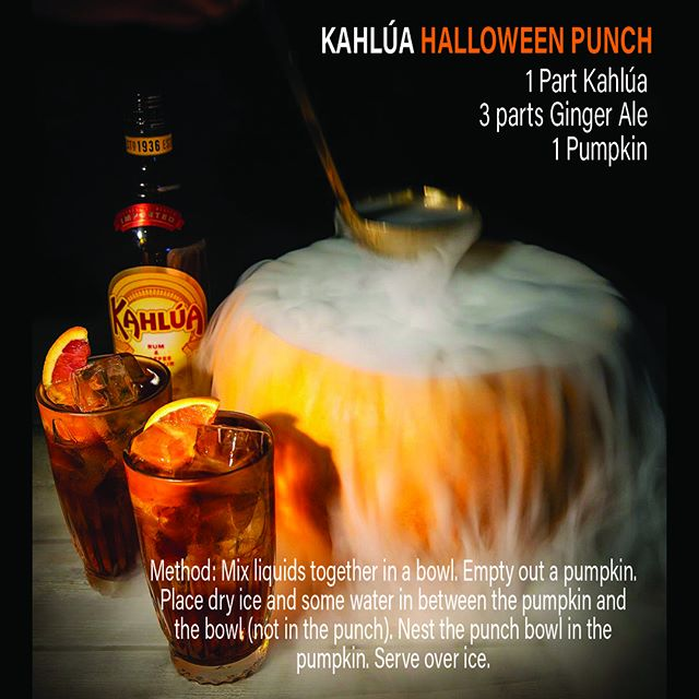 Besides making Jack-o-Lanterns you can carve your #pumpkin into a #punch bowl.  If you do use dry ice please use extreme caution and do not put it directly into drinks. #hawaiibeverage #halloween #bar #cocktail #gingerale @kahluaus