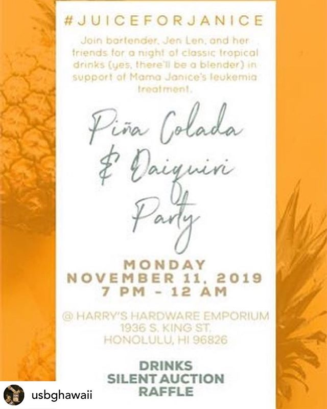If you're free on Monday, come by Harry's Hardware Emporium @harryshardwareemporium and help us show some Aloha for a very special cause! Fellow USBGHI chapter member Jen Len @eatrecklessly will be behind the bar mixing up Daiquiris and Pina Coladas! Proceeds will be going towards the cost of treatment for her mother Janice. Janice is currently undergoing treatment for leukemia. Let's get together and send some love and Aloha (and $) to Janice! There will be a silent auction for some killer bottles and a raffle! It's gonna be a great time for a great cause! I hope to see you all there!  Can't make it on Monday?! Send your support to Janice by visiting https://www.gofundme.com/f/janice-dorado-conquering-acute-myeloid-leukemia?utm_source=customer&utm_medium=copy_link&utm_campaign=p_cp+share-sheet  Every little bit counts and is incredibly appreciated! @usbg #hawaii #honolulu #craftcocktails #usbghawaii #usbghi #welovetogiveback #fcancer #yougotthis #charityisawesome