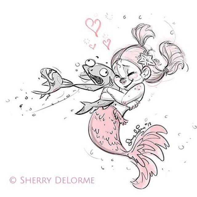 From Last year's #mermay  #tbt #sketch #characterdesign #sharklover #mermaid