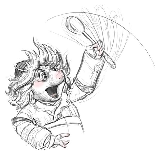 """Hup and his mighty spoon!"" I've always loved Brian Froud and his design work, which has played a huge influence on my own work.  Combine that with the wizardry of Jim Henson Creature Shop and it is pure magic!  Absolutely loved The Dark Crystal: Age of Resistance.  The stuff is dreams and nightmares!! #characterdesign #darkcrystalfanart #illustration #sketch #thedarkcrystalageofresistance #brianfroud #jimhenson #victoryerrid #fanart #hup #fortheloveofpuppets"