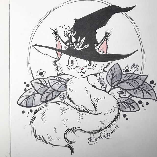 #catober 2019 for #inktober Cat Witch/Wizard plus moon #ring mashup. Ink and #sketch  Tools- coldpress illo board + #prismacolormarkers #tombowdualbrushpens #akashiyabrushpen  #witchy #catwitch #moonkitty #moonring #purrs #ink
