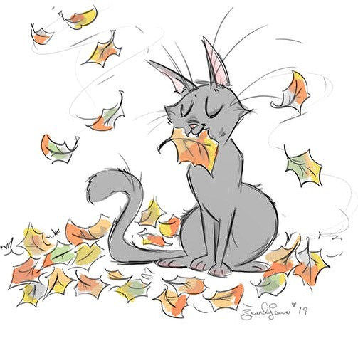 #catober Day 5: Autumn Cat.  Just a quick doodle.  I knew I'd be running behind eventually haha  #catober2019 #sketch #digitalsketch #characterdesign #cats #autumncat #iheartfall