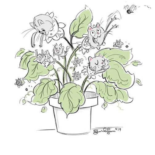 Catober Day 6: Cat Plant. This one was a bit weird but I went with it!  Haha 😆  #catober #catober2019 #catplant #digitalart #digitalsketch #characterdesign #cats #sketch