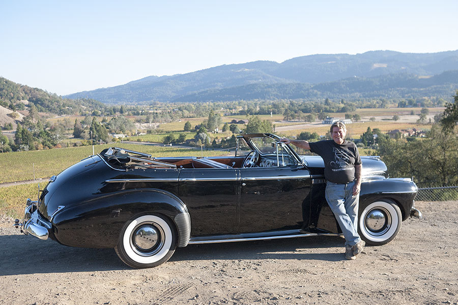 Russ Aves with his 1941 Buick Roadmaster convertible, overlooking Calistoga off Route 29.