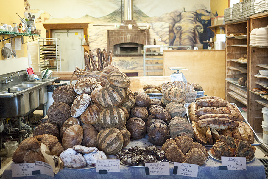 Today's bread selection at Wild Flour Bakery.