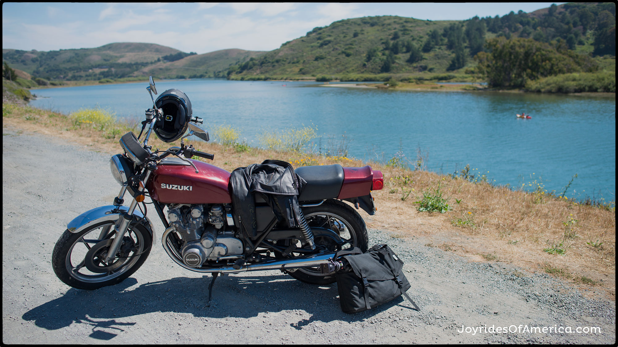 1980 Suzuki GS550 at the mouth of the Russian River. Jenner, California