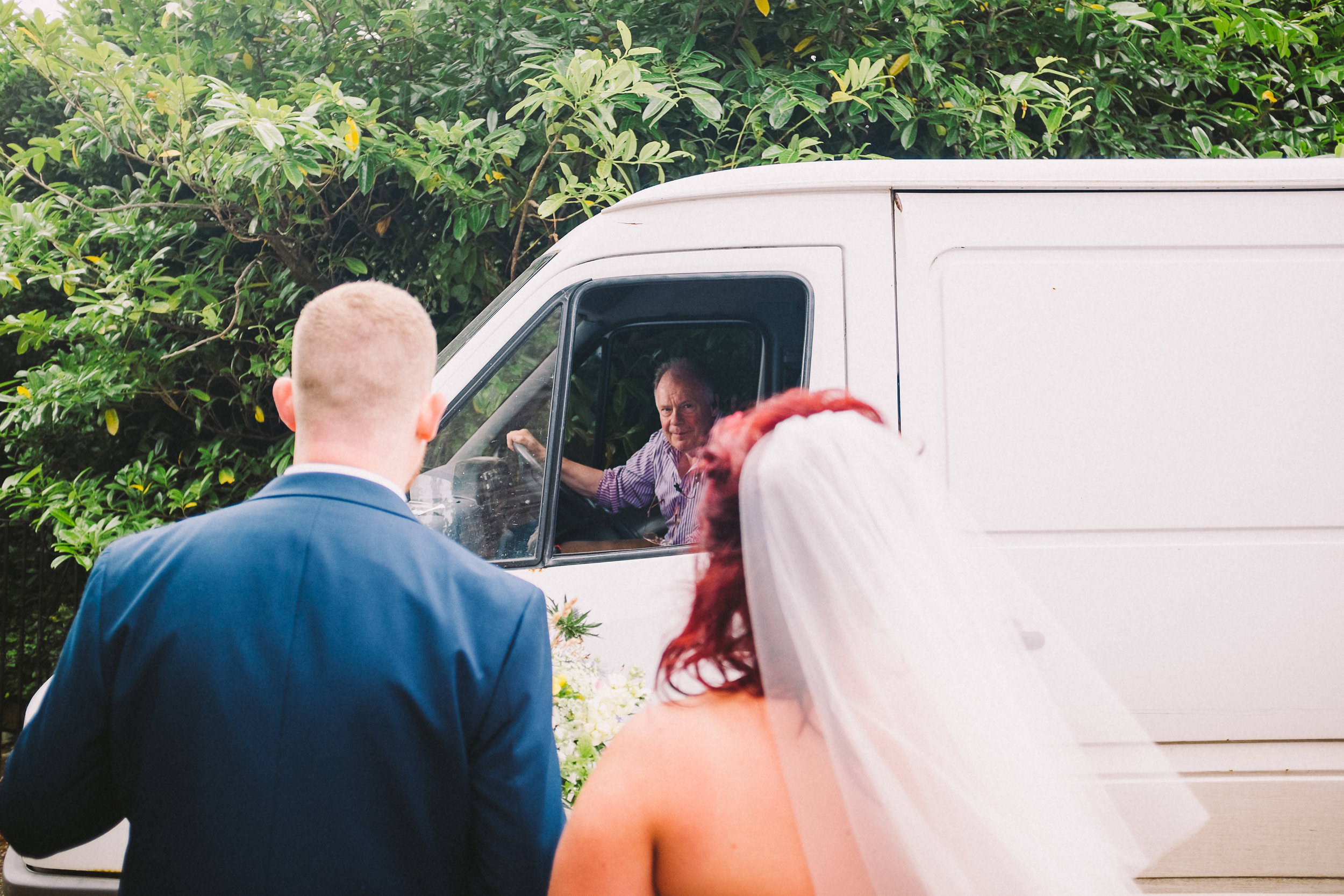 With weddings I'll usually photograph anything that tells a story, if that's Gary in his van as we pop off to do a few portraits then that's what I'll shoot.