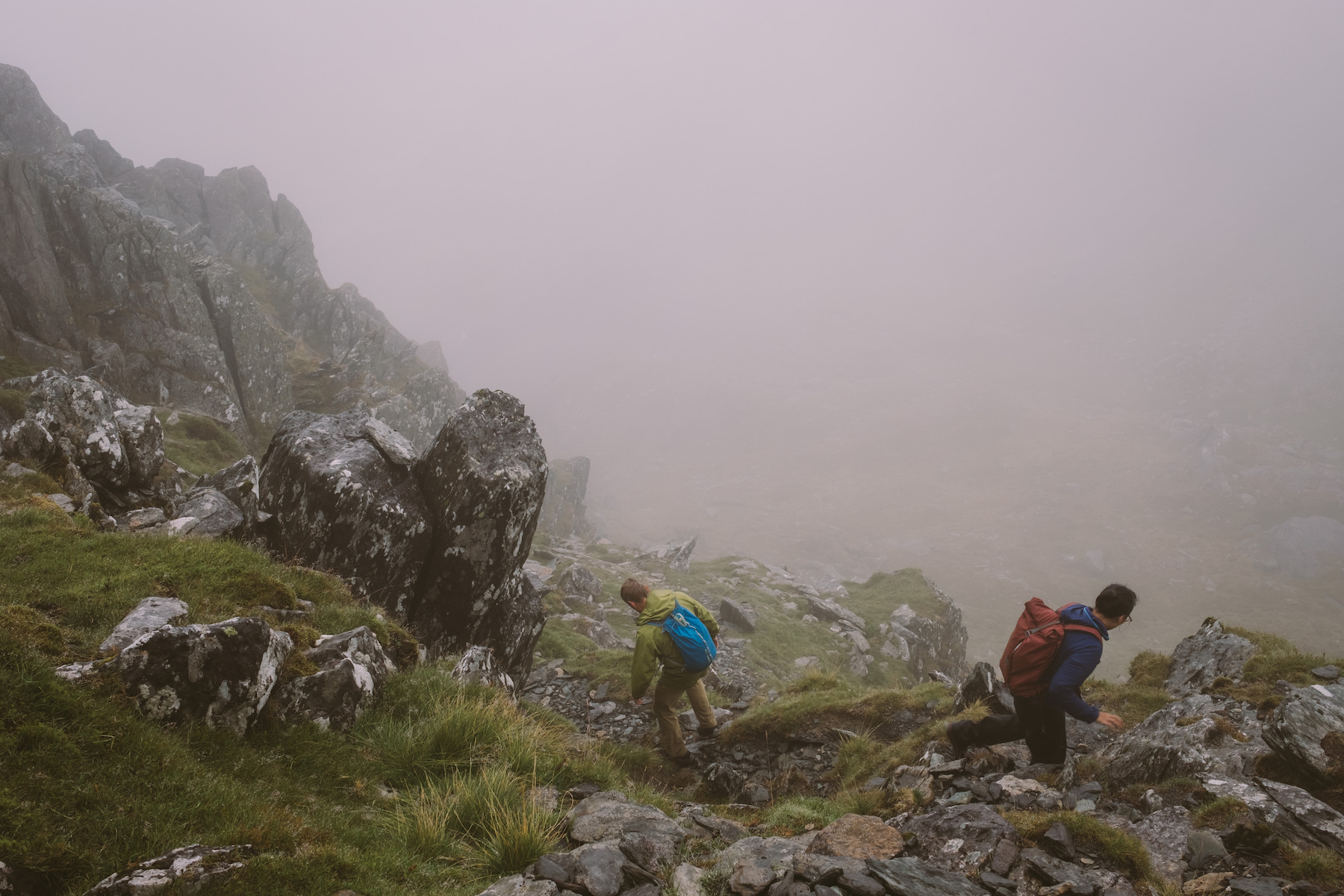 Scrambling over mountains in the mist.  Fuji X-H1 + 23mm 1.4 Lens