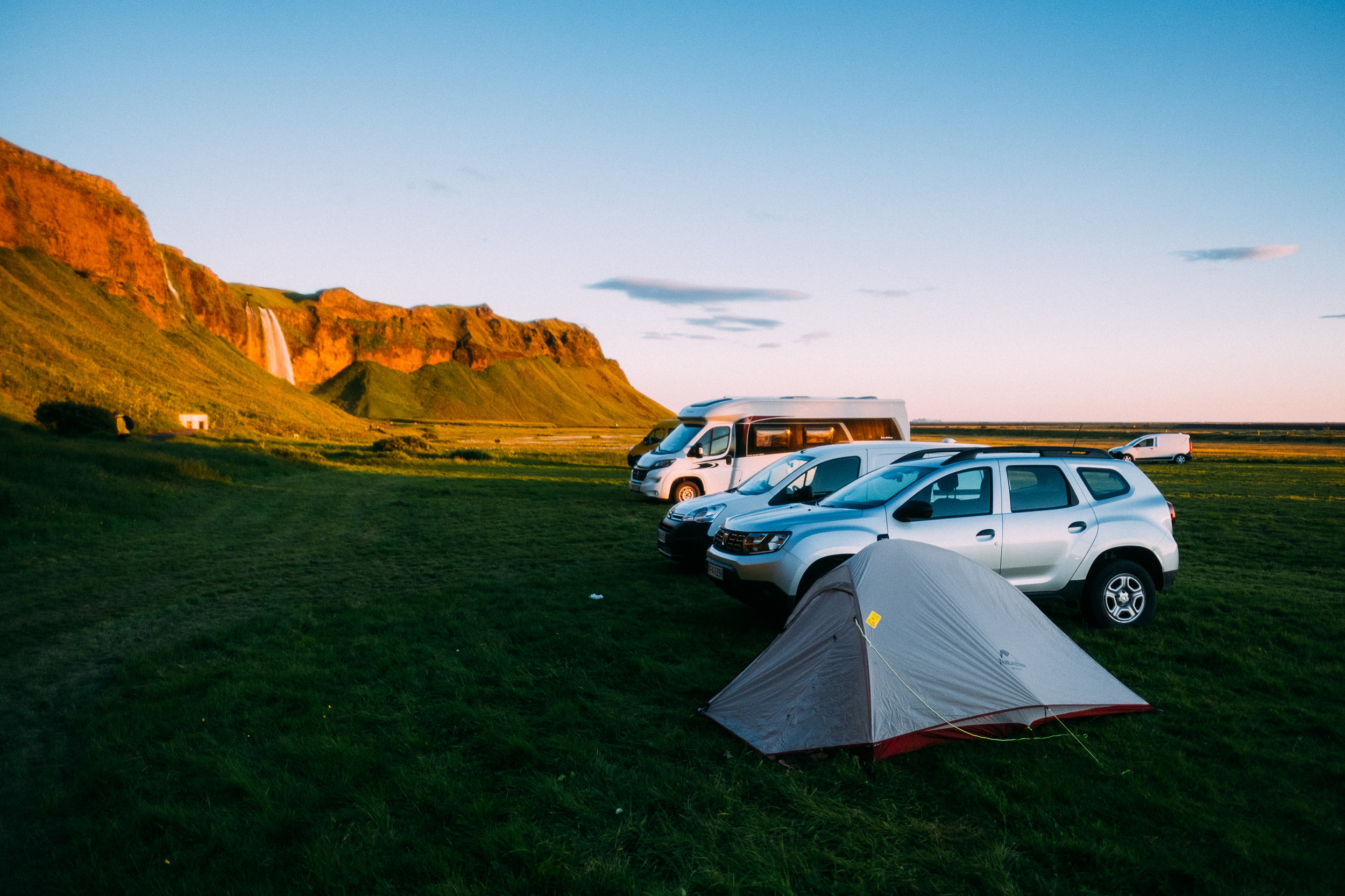 The campsite near Seljalandsfoss