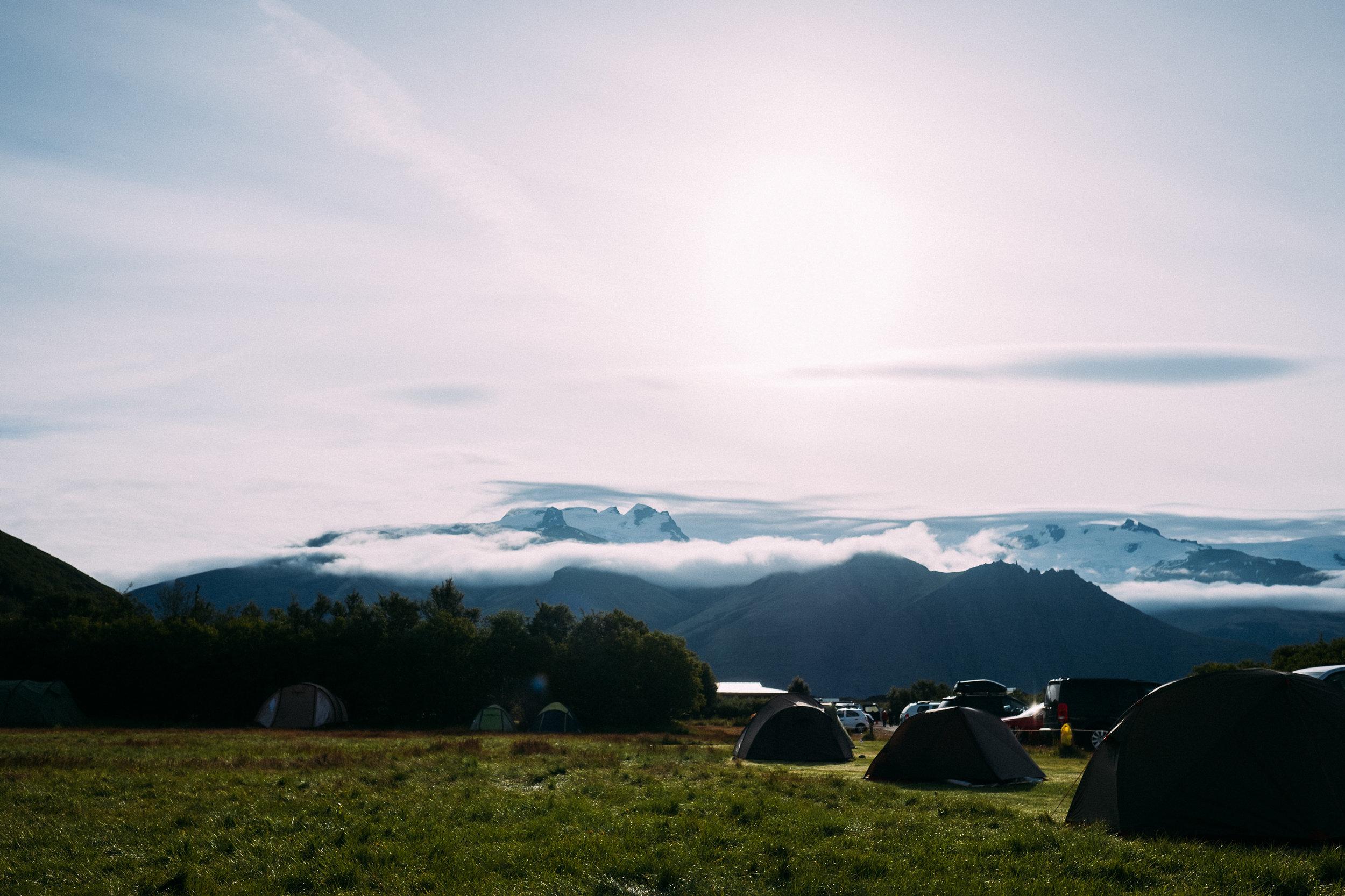 A stunning campsite near the Svartifoss waterfall.
