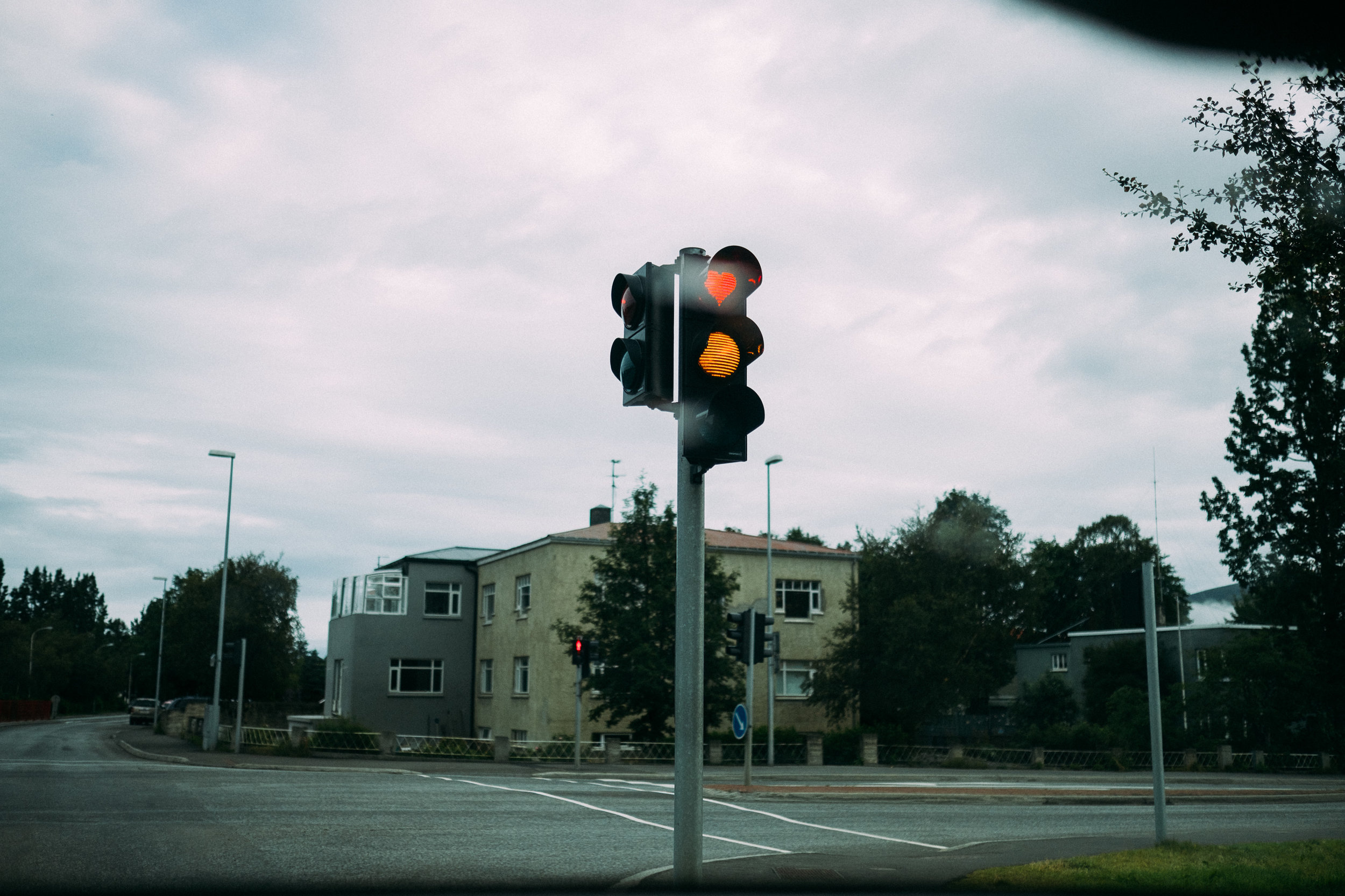 I didn't take many photos in Akureyri, but this one of the traffic lights stood out. They did this during the 2008 financial crisis to life peoples mood, they liked it so much they have kept them. [65.6240766,-18.2152425]  Fuji X-H1 + 23mm 1.4 lens