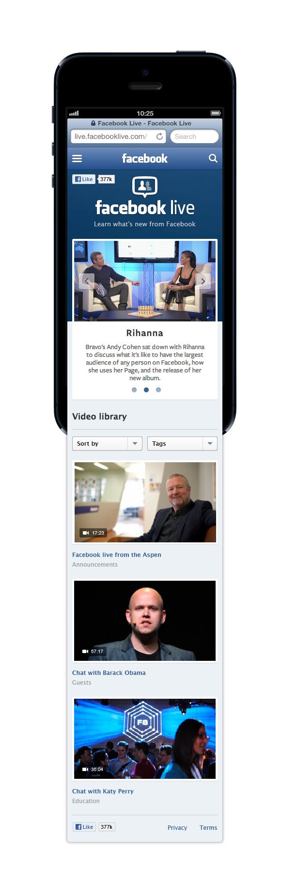 Facebook Live Mobile Experience