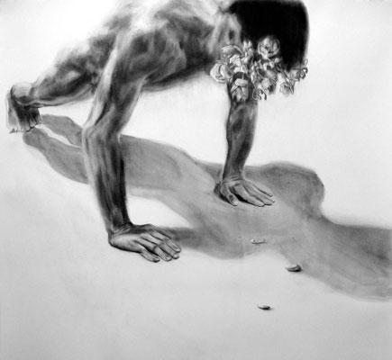 """""""Narcissism"""", 42"""" x 40"""", Graphite on Rives BFK, 2009."""