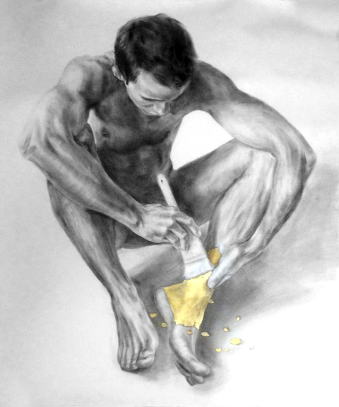 """""""Guilding the Athlete"""", 34"""" x 42"""", Graphite & Gold Leaf on Rives BFK, 2009."""