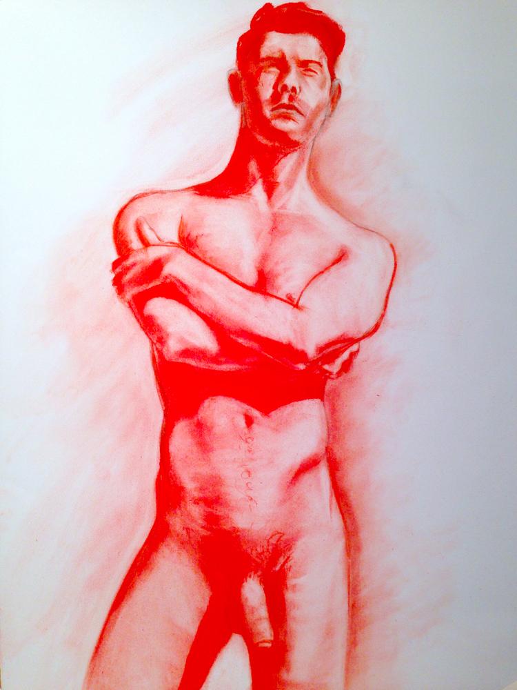 """Manuel"", 22"" x 30"", Pastel on Pescia Blue, 2014."
