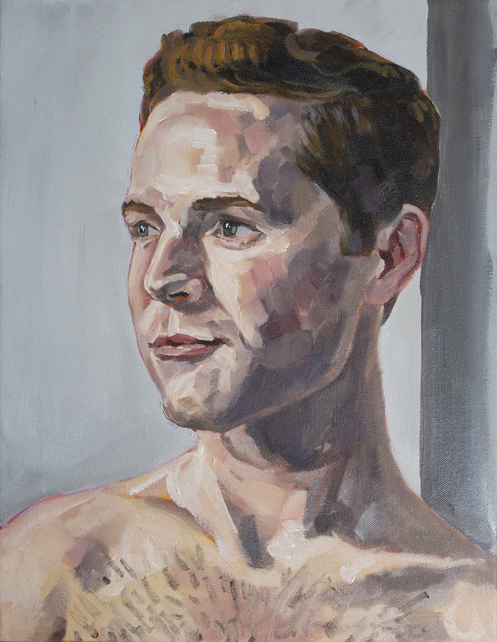 Evan , 18x14 inches, oil on canvas.  Photo captured from a live session and drawing was completed over a one month period.