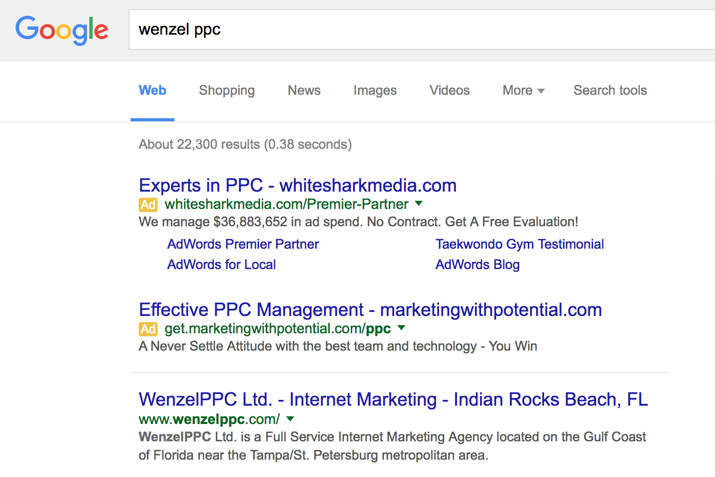 Example of competitors showing above organic brand keywords