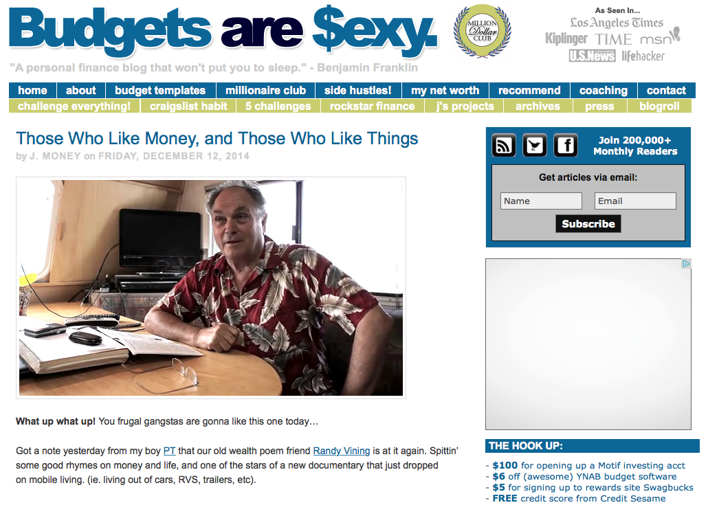A screen capture of J. Money's review of Without Bound on his personal finance blog, BudgetsAreSexy.com