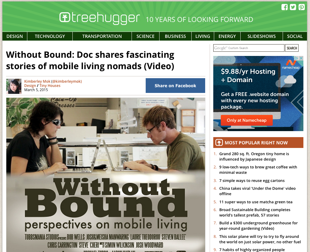 Screen capture of Treehugger.com.Click image to read the article.