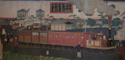 "1. BAIDO KUNIMASA    梅堂国政 (1848-1920)    Steam Train Running Between Shimbashi and Yokohama , 1872, triptych, 33.75"" x 19.25"""
