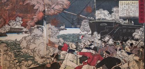 "13. MIZUNO TOSHIKATA    水野年方 (1866-1908)     War Between China and France,  1884, triptych, 33.75"" x 19.25"""