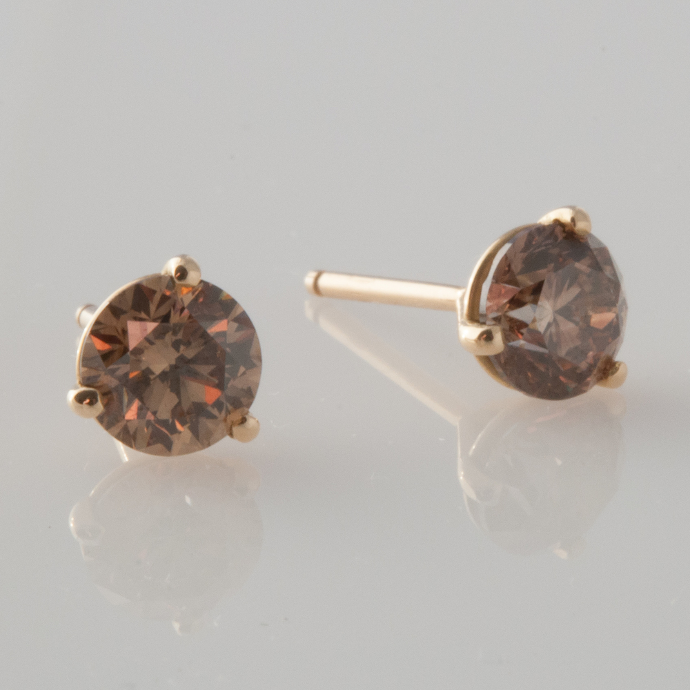 Natural Brilliant Brown Diamond Studs Gladstone Jewelry