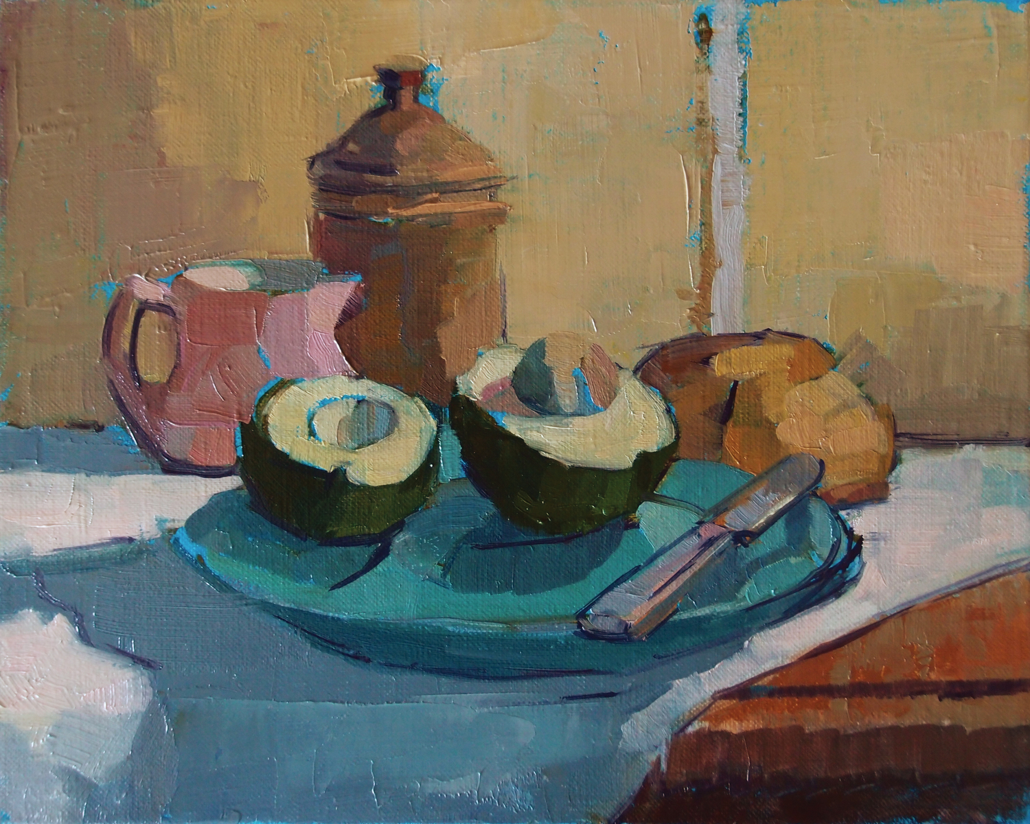 "Avocado, 2014, oil on linen, 8"" x 10"""
