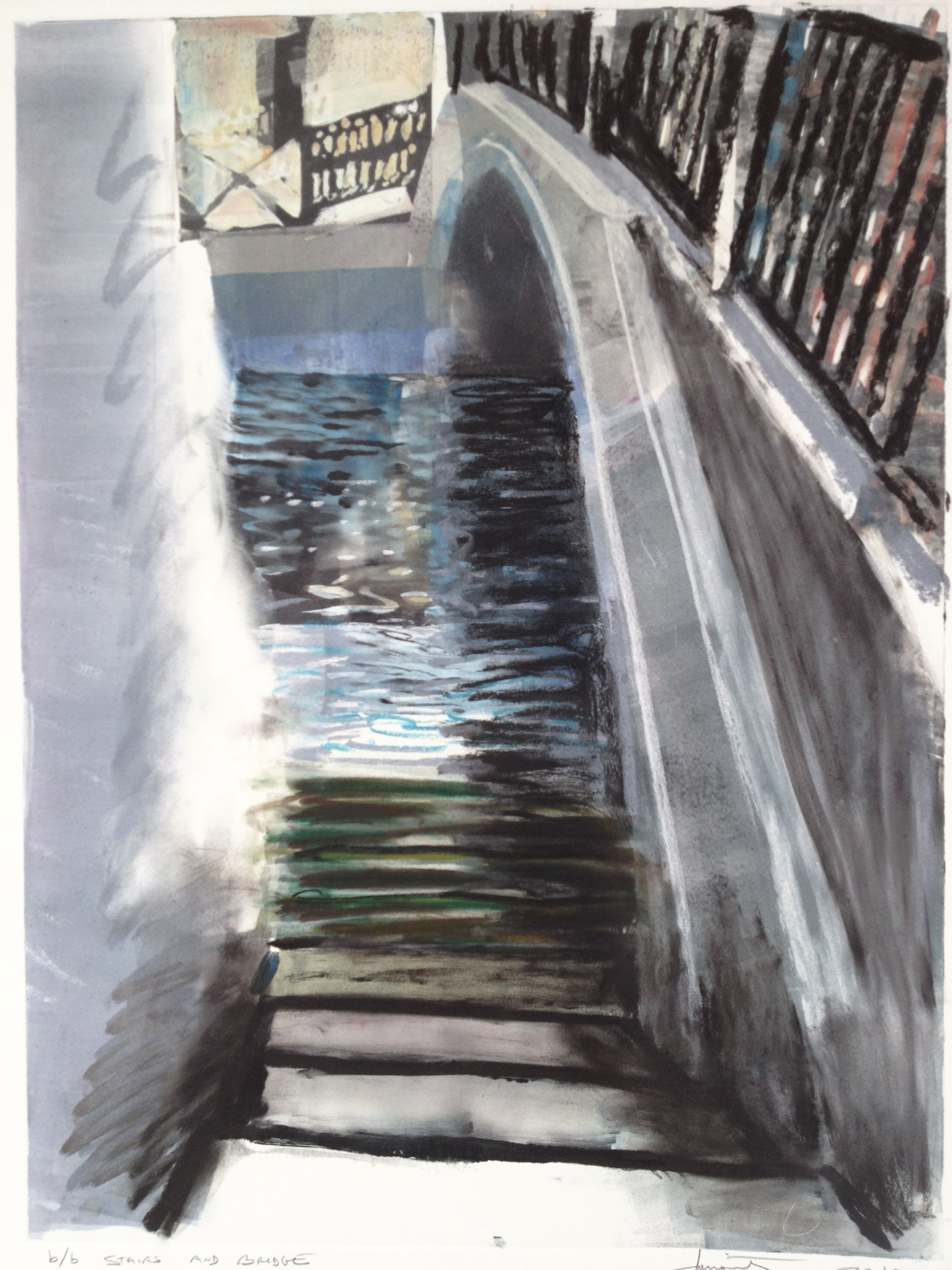 "Stairs and Bridge bb, 2012, monotype with pastel, 30.5"" x 22"""