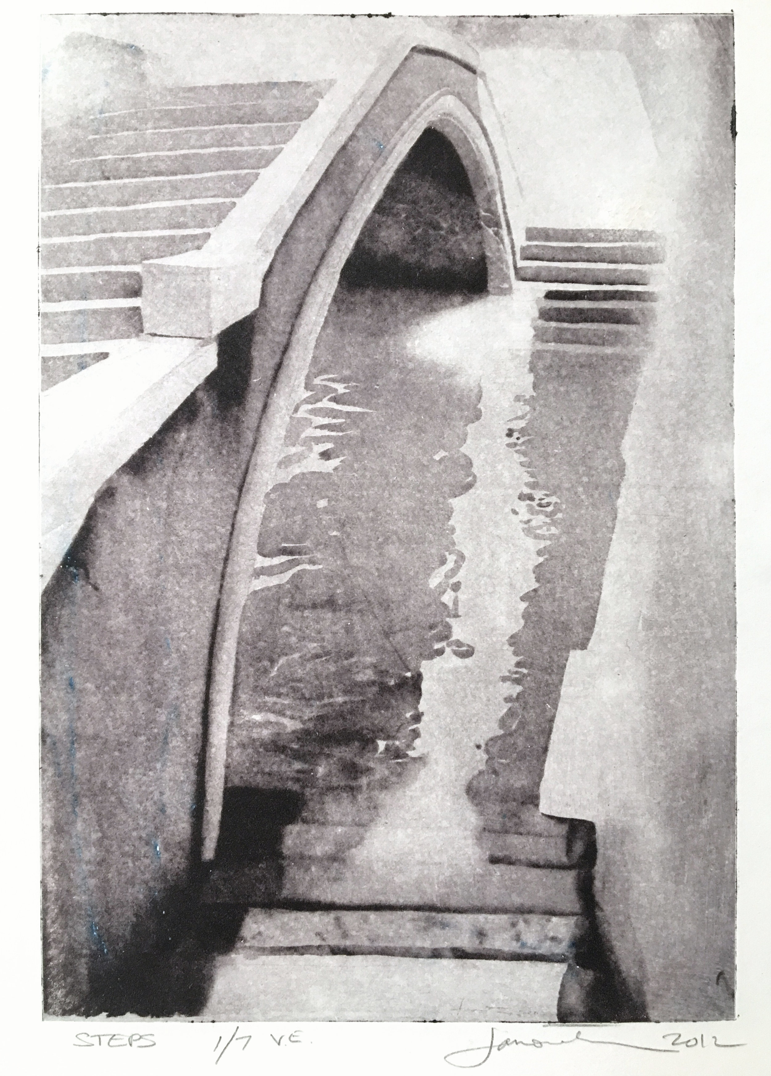 "Steps VE, 2012, photo intaglio, 11"" x 10"""