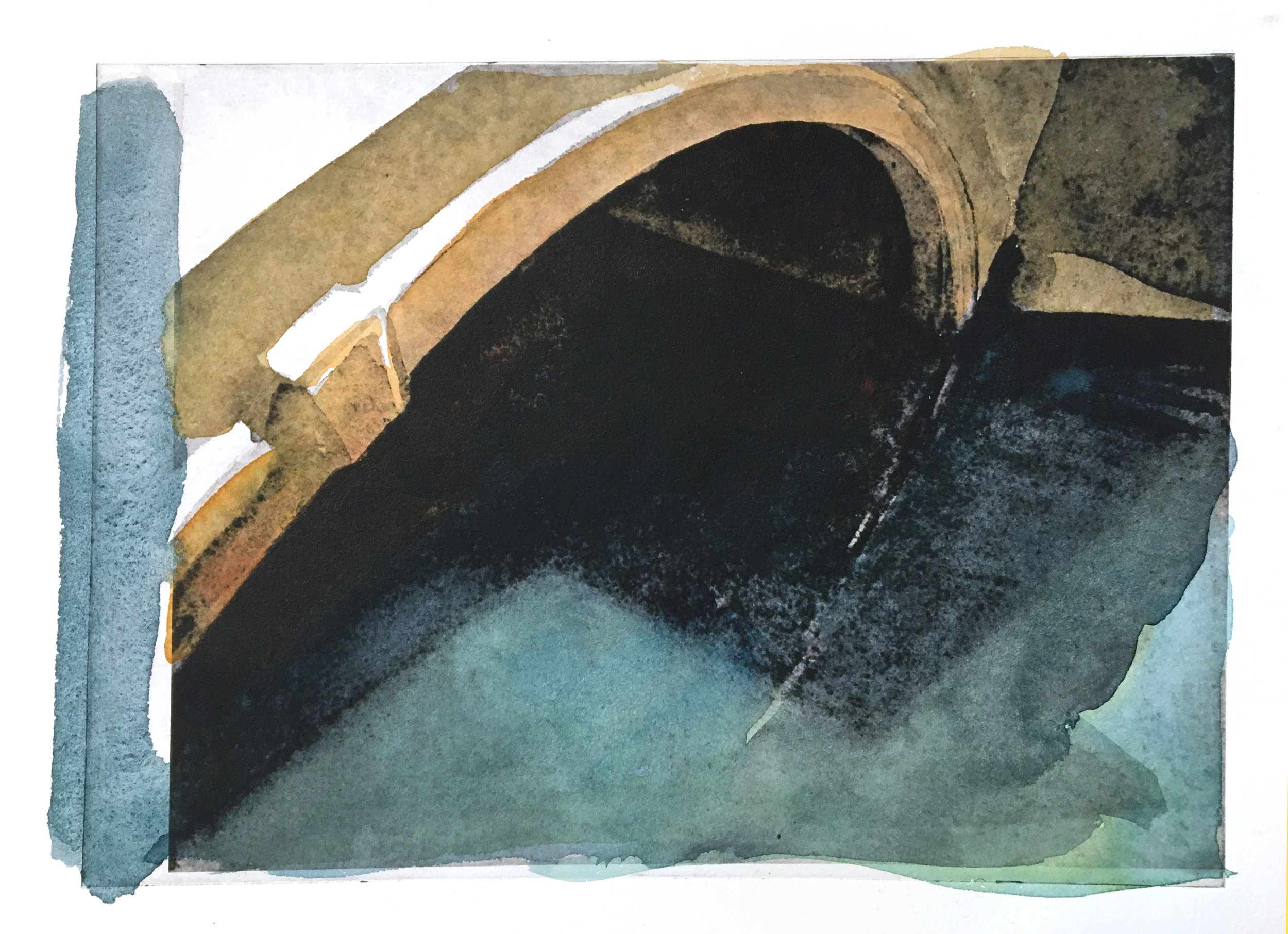 "Venice Bridge, 2018, intaglio with watercolor, 11"" x 13.5"""