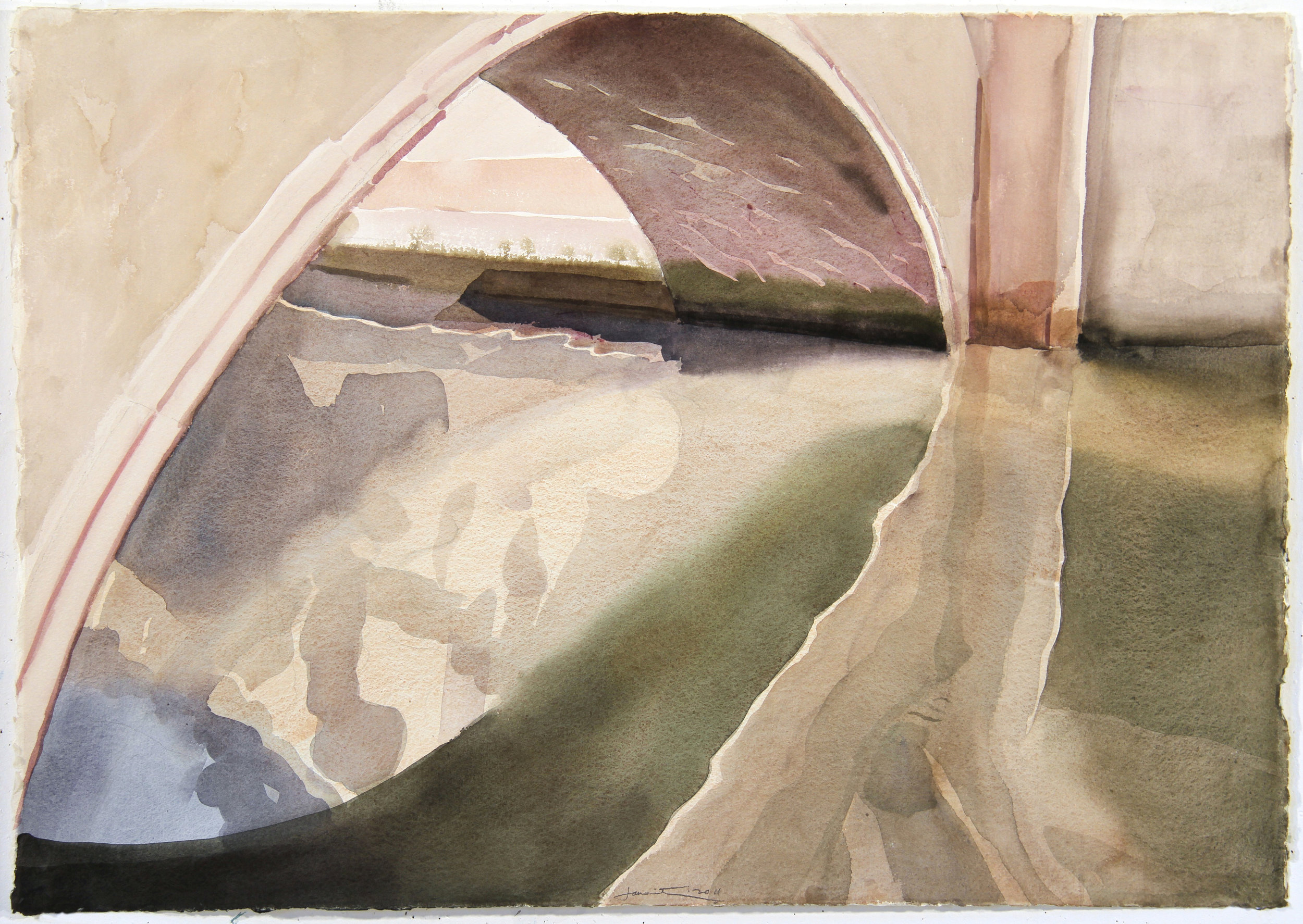 "Arch, 2011, watercolor, 29.5"" x 40"""