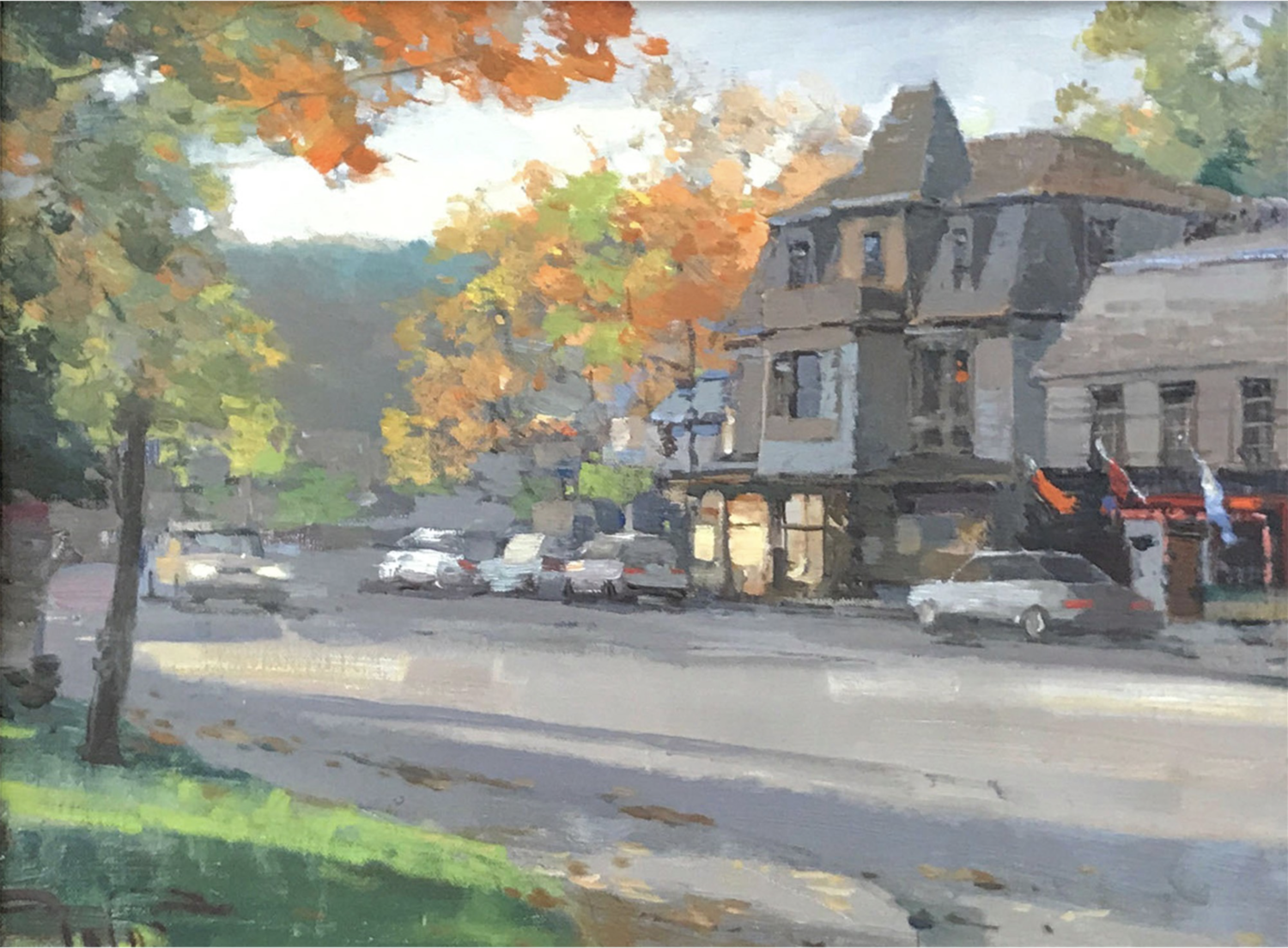 """Downtown Stroll, 2018, oil on canvas, 11"""" x 14"""""""