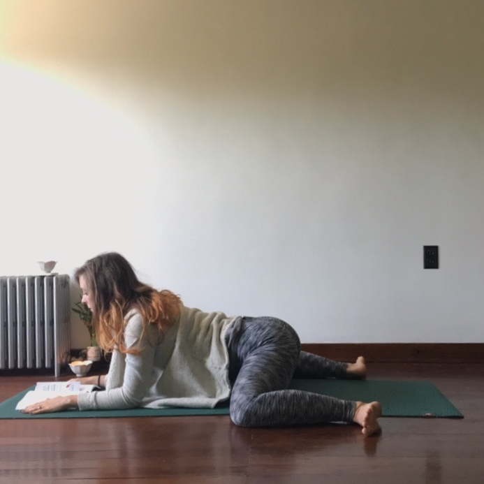 4.) Frog Pose - Stretch the hips and thighs open wide and prop yourself on your arms. Feel free to add support under the hips or torso if you plan on staying here for a while.