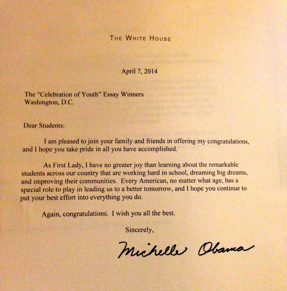 Congratulations from the First Lady!