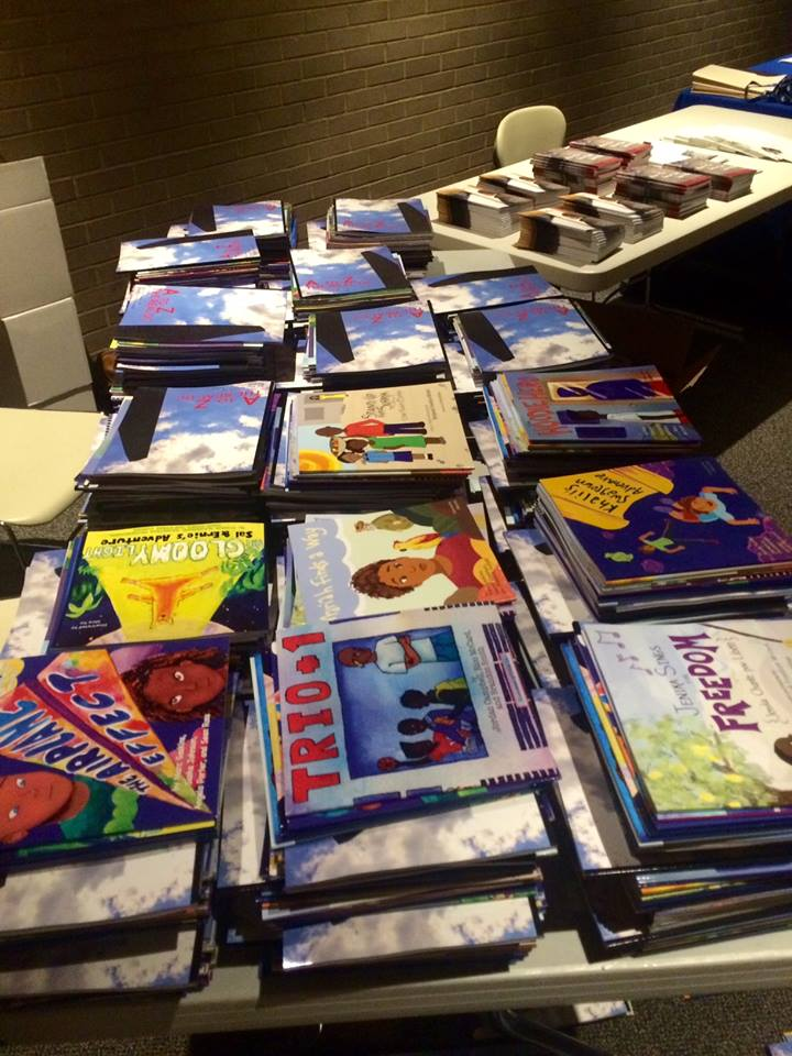 Stacks of books headed to DC Public Schools