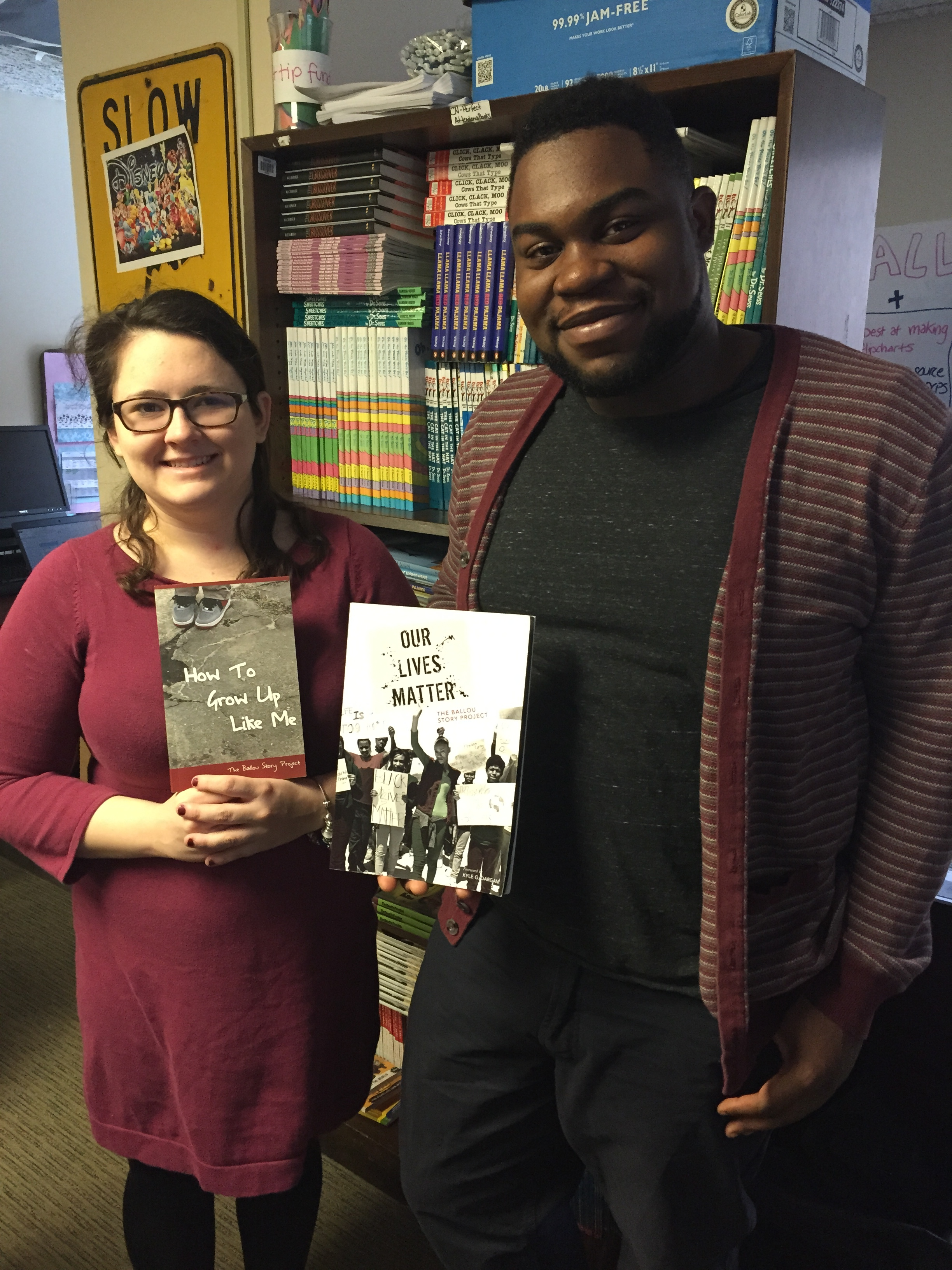 Jennifer Parisi and Vvdaul Holloway are two AmeriCorps VISTA fellows who read the Ballou Story Project collection  as part of their training for Turning the Page.