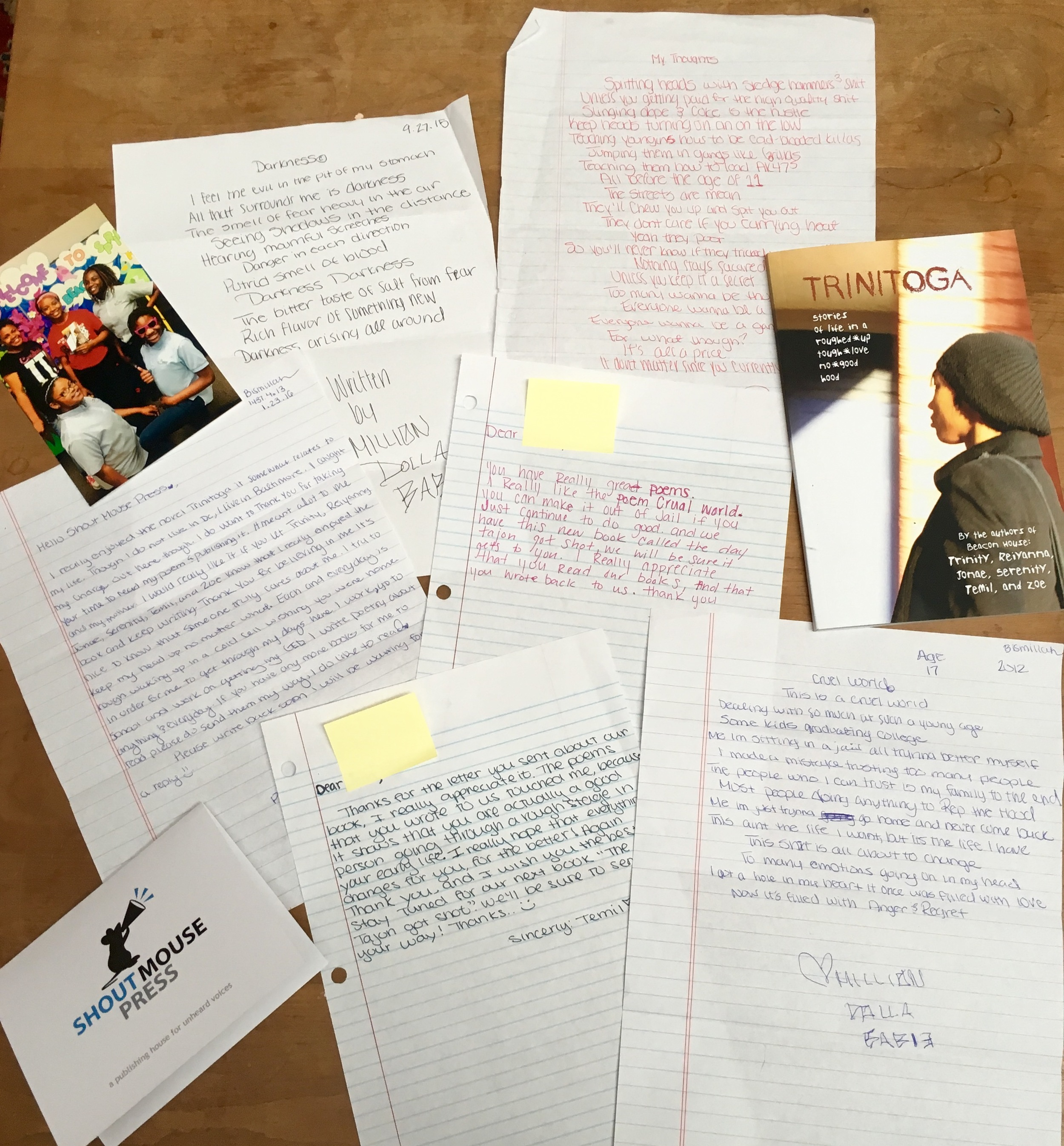 Letter and poems from reader L and Shout Mouse author responses.