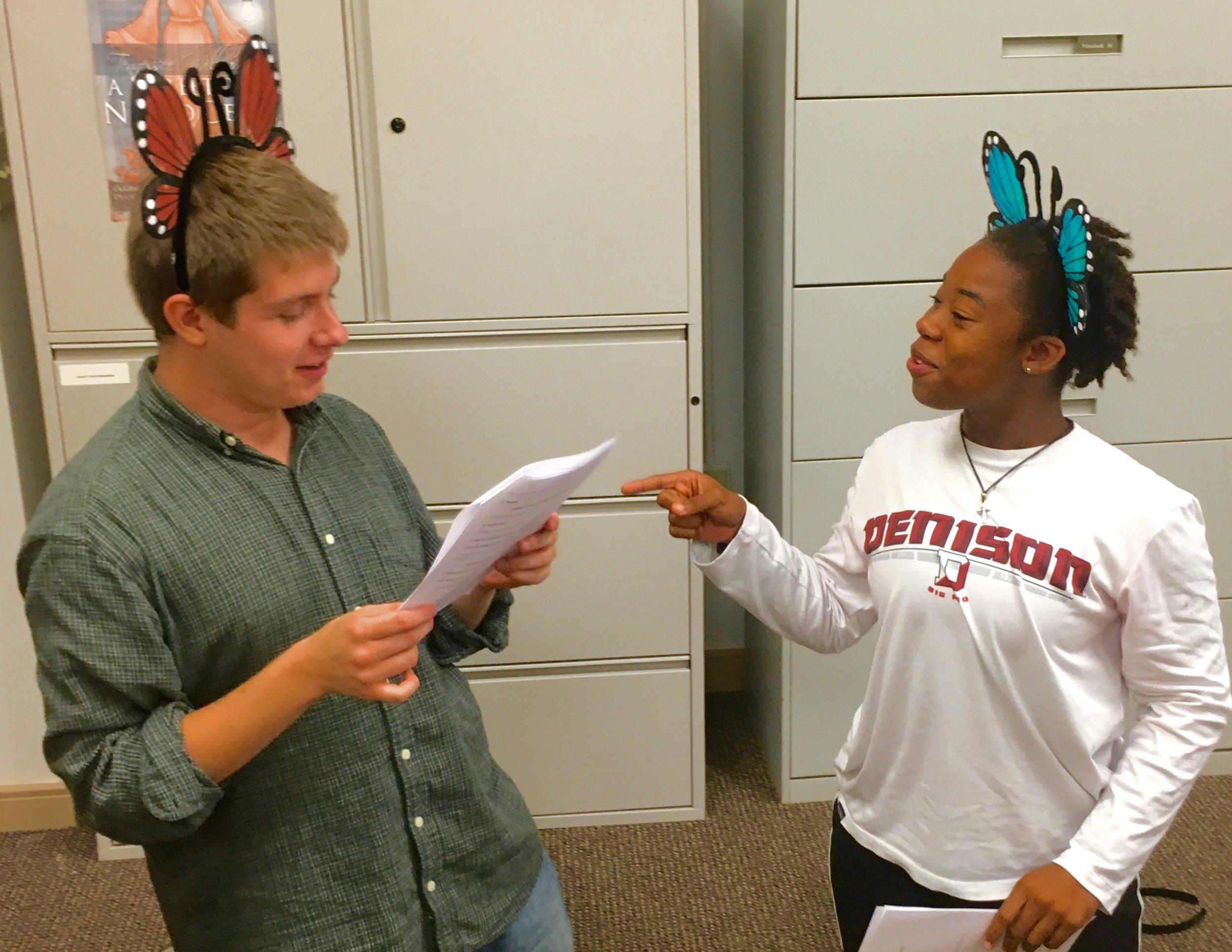 Denison student actors help act out children's book, Flutterbugs