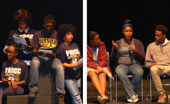 Left: performers bring Ballou Story Project to life. Right: Writers discuss what it was like to write for the stage.
