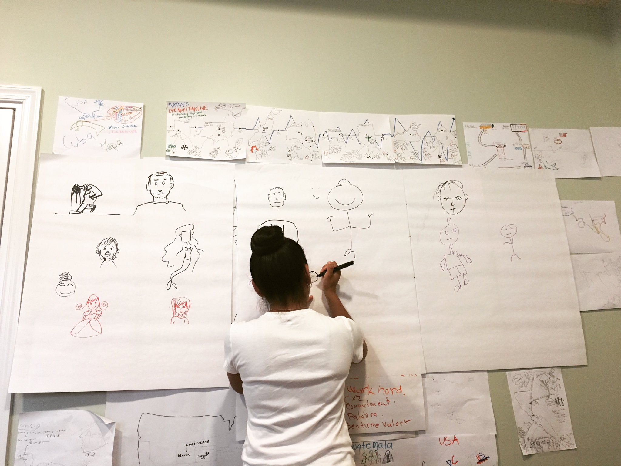 On Day 2 of LAYC graphic novel workshop, writers were asked to draw themselves!
