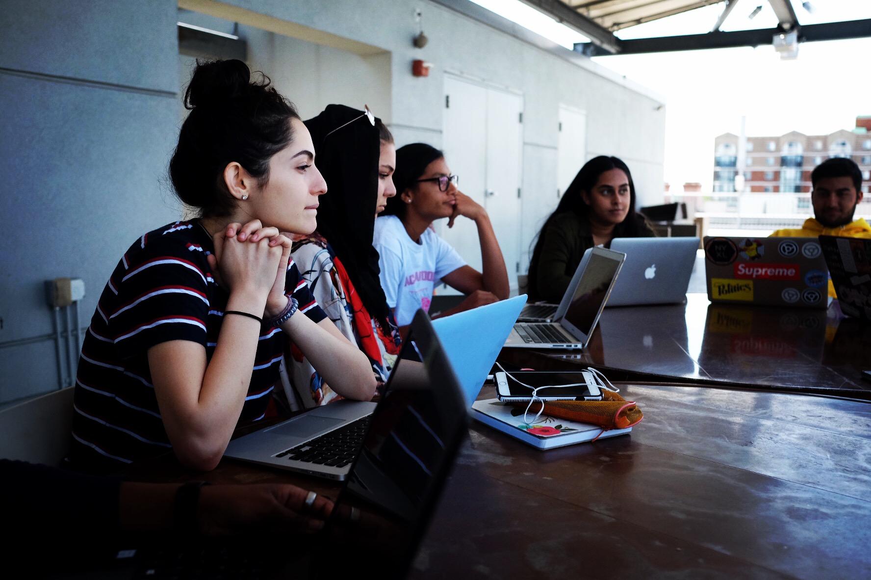 Next Wave Muslim Initiative (NWMI) writers Noor, Samaa, Leyla, Imaan, and Bilal in summer writing workshop.