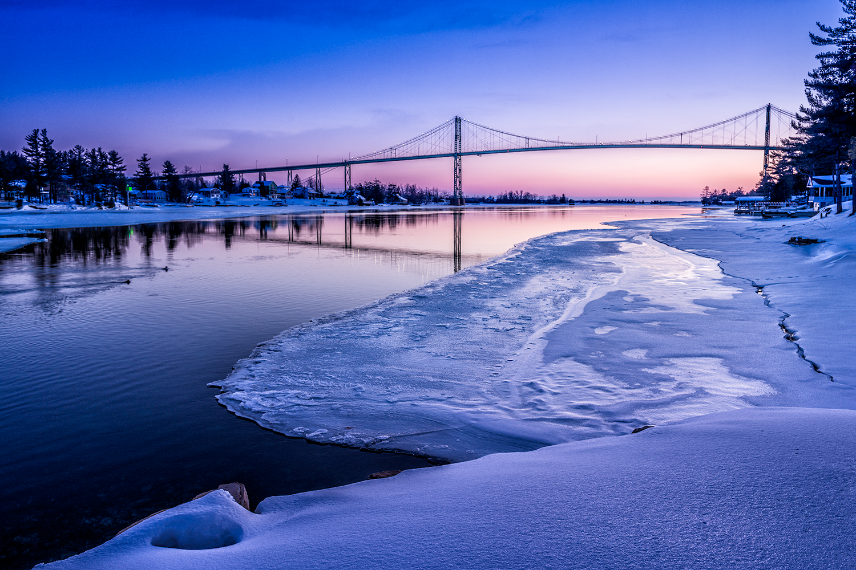 Thousand Islands Bridge Winter Sunset
