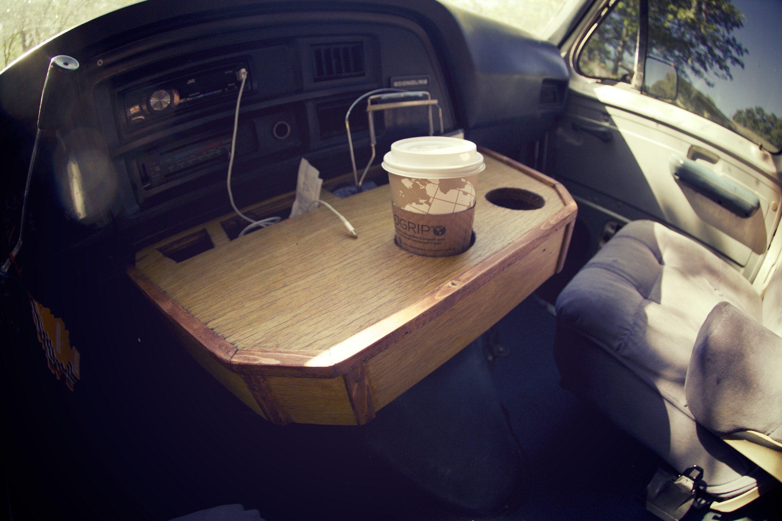 This is one of my favorite pieces in the van. This is a custom-designed and built unit. The wood used to build it was from a desk that my Grandaddy built for my father years ago. Such an awesome piece of history for Thorondor.