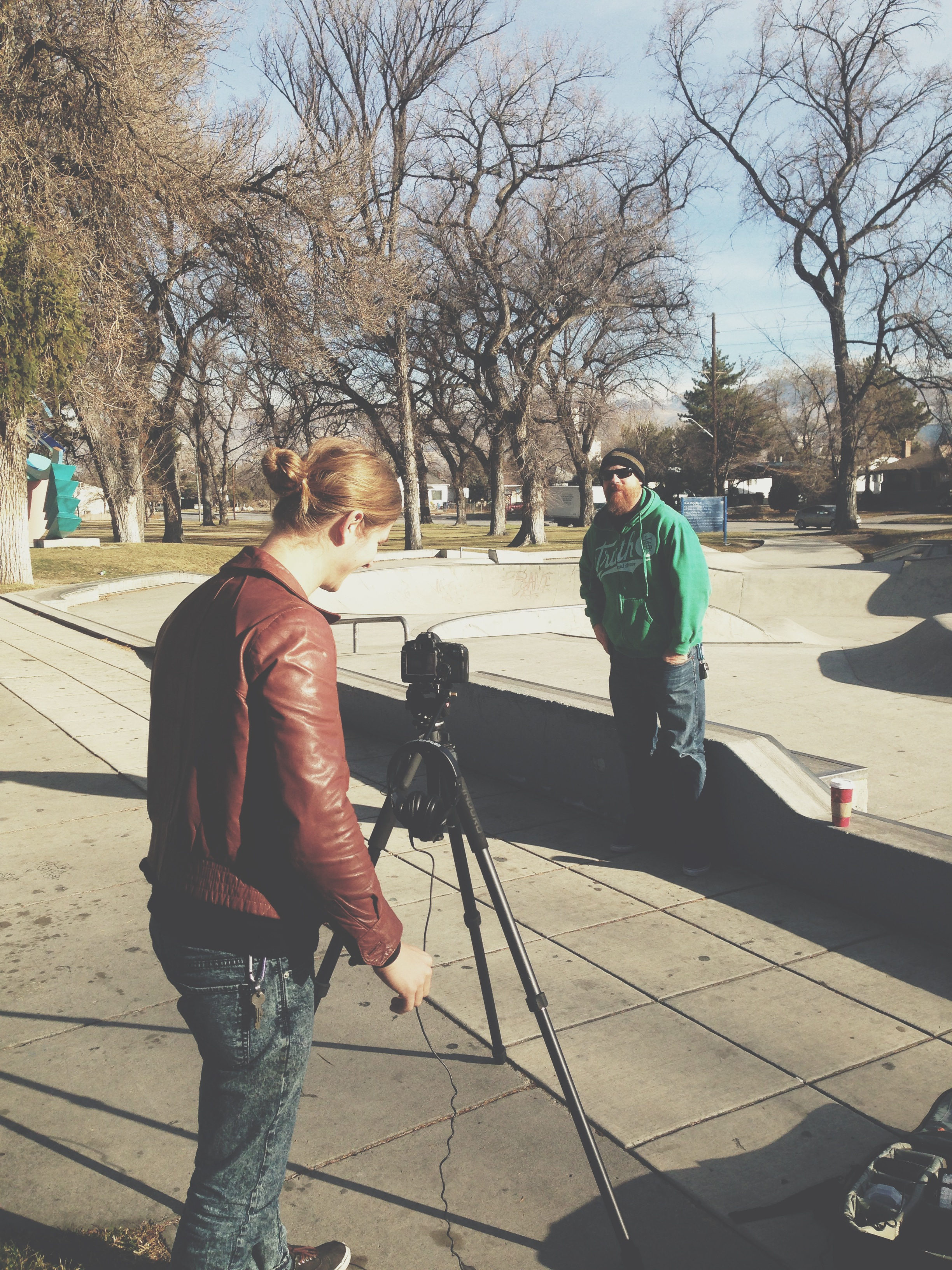 Setting up to interview Rob, one of the leaders at SkateChurch SLC.