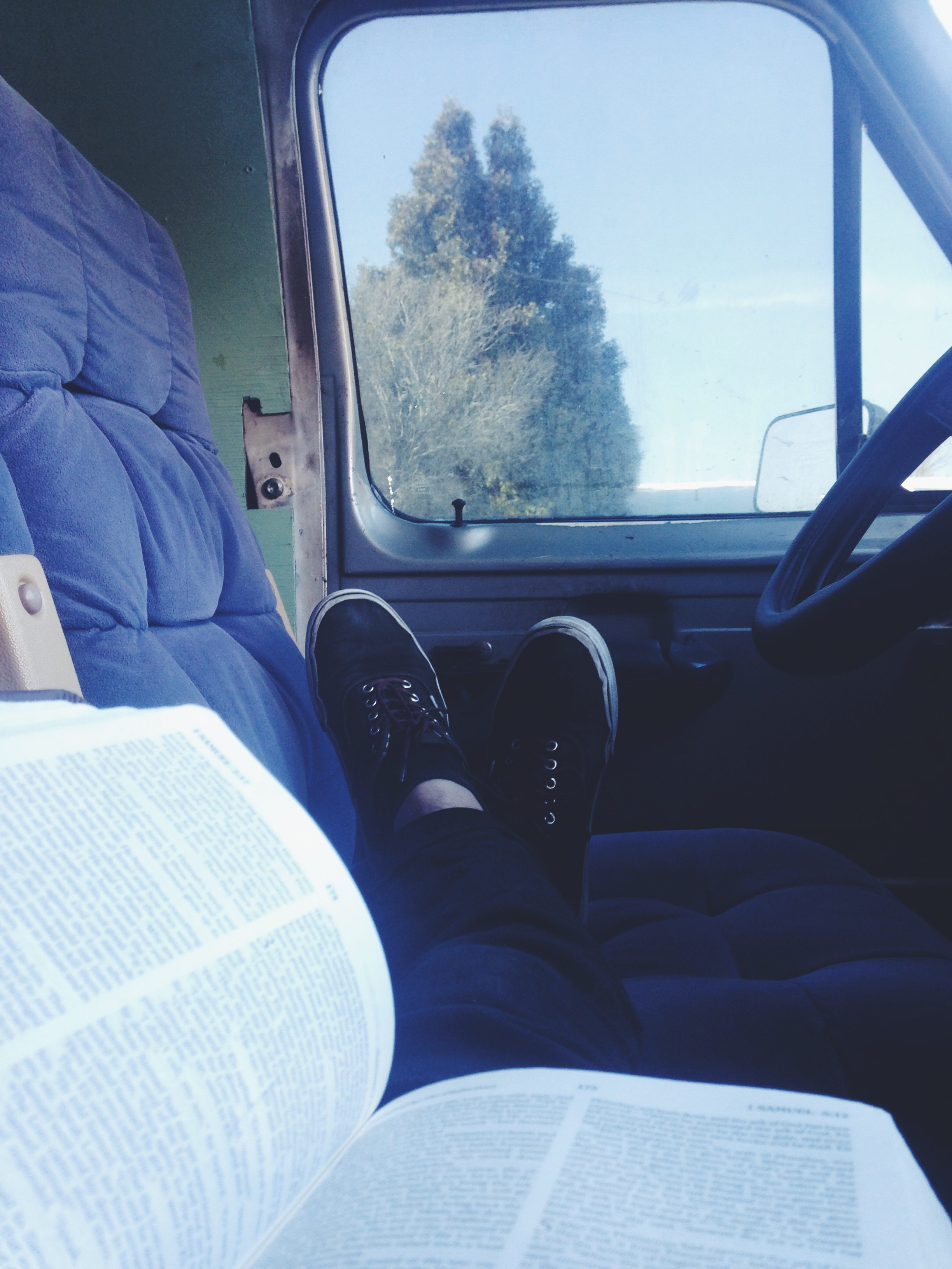 Enjoying a read in the van. Finally getting above 30º for a small chunk of the day.